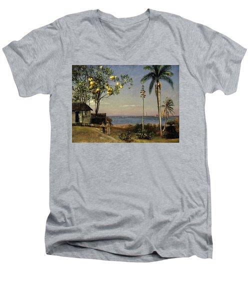 Tropical Scene Men's V-Neck T-Shirt by Albert Bierstadt