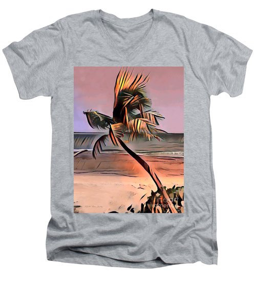 Tropical Seascape Digital Art E7717l Men's V-Neck T-Shirt