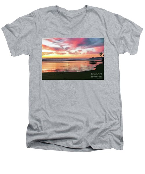 Men's V-Neck T-Shirt featuring the photograph Tropical Sunset Island Bliss Seascape C8 by Ricardos Creations