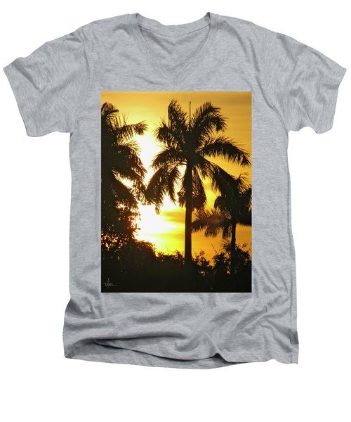 Tropical Sunset Palm Men's V-Neck T-Shirt