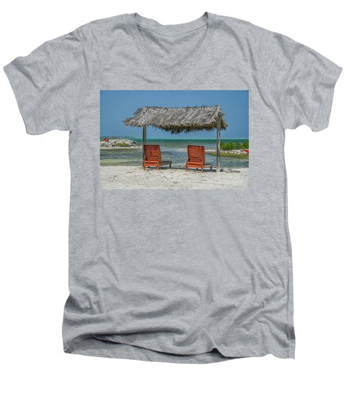 Tropical Vacation Men's V-Neck T-Shirt by Patricia Hofmeester