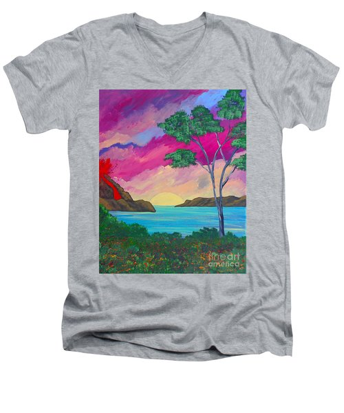 Tropical Volcano Men's V-Neck T-Shirt