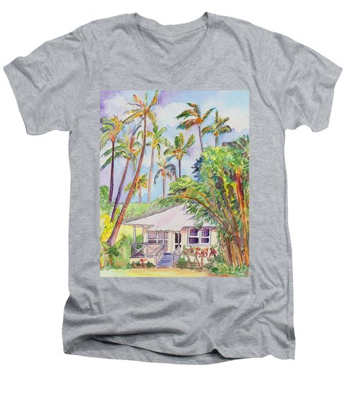 Tropical Waimea Cottage Men's V-Neck T-Shirt by Marionette Taboniar