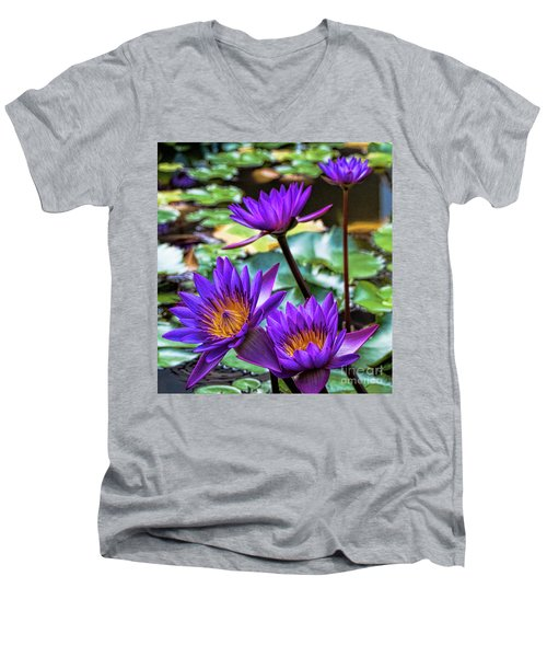 Tropical Water Lilies Men's V-Neck T-Shirt by Karen Lewis