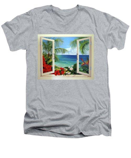 Tropical Window Men's V-Neck T-Shirt by Katia Aho