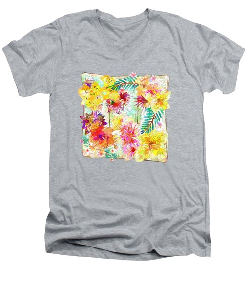 Tropicana Abstract By Kaye Menner Men's V-Neck T-Shirt