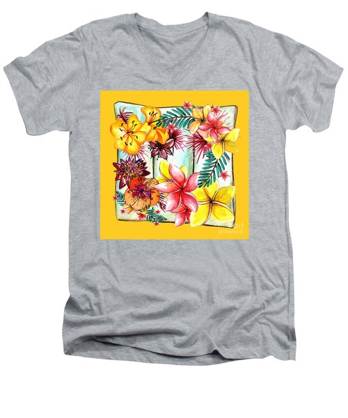 Men's V-Neck T-Shirt featuring the photograph Tropicana On Yellow By Kaye Menner by Kaye Menner