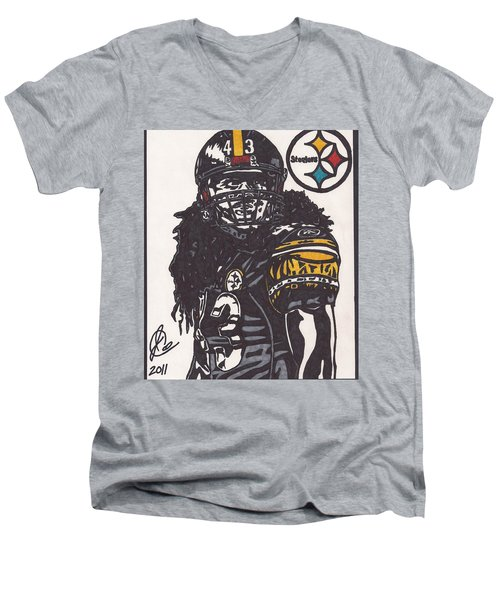 Men's V-Neck T-Shirt featuring the drawing Troy Polomalu 1 by Jeremiah Colley