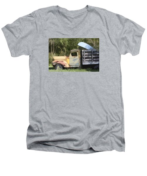 Men's V-Neck T-Shirt featuring the photograph Truck And Canoe by Donna G Smith