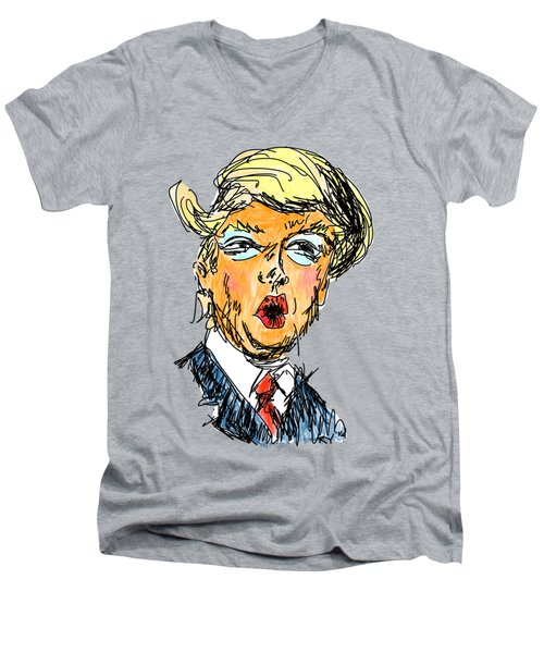 Trump Men's V-Neck T-Shirt by Robert Yaeger