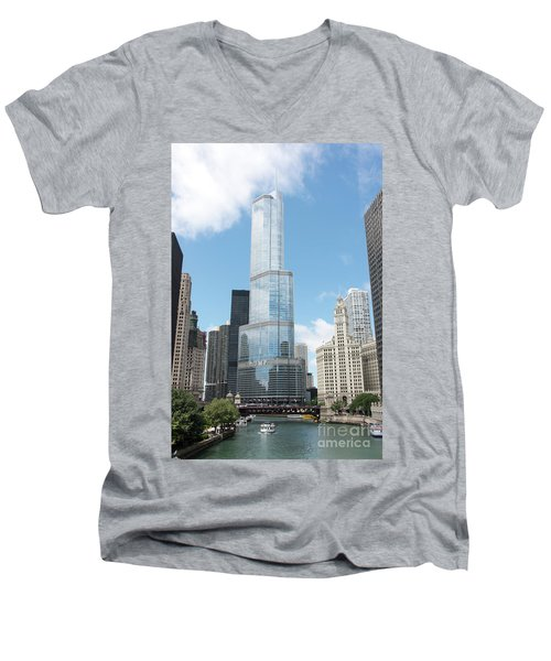 Trump Tower Overlooking The Chicago River Men's V-Neck T-Shirt