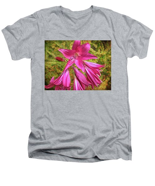 Men's V-Neck T-Shirt featuring the photograph Trumpet Flowers by Lewis Mann