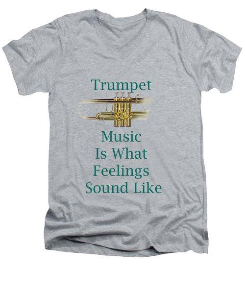 Trumpet Is What Feelings Sound Like 5582.02 Men's V-Neck T-Shirt by M K  Miller