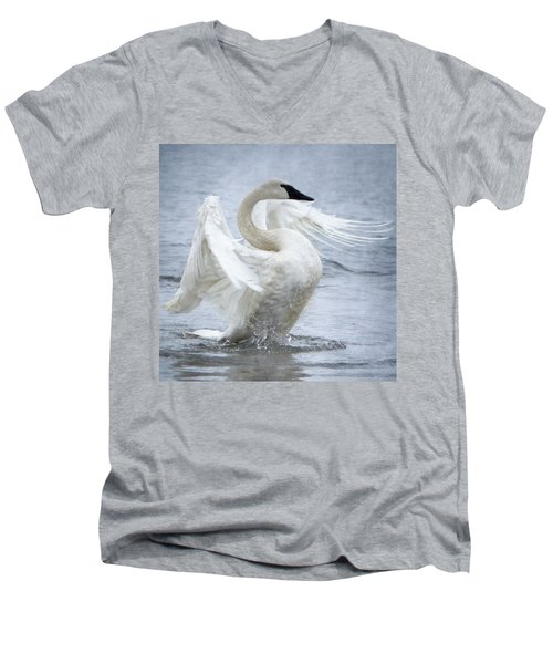 Trumpeter Swan - Misty Display 2 Men's V-Neck T-Shirt