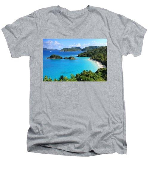 Trunk Bay St. John Men's V-Neck T-Shirt by Roupen  Baker
