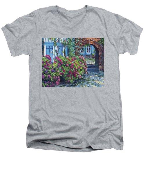 Tudor Hydrangea Garden Men's V-Neck T-Shirt