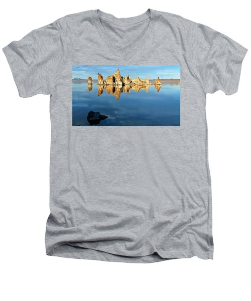 Tufa Reflection At Mono Lake Men's V-Neck T-Shirt
