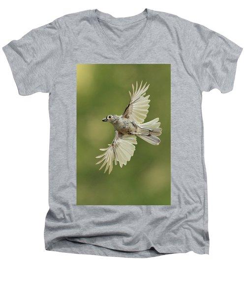 Tufted Titmouse In Flight Men's V-Neck T-Shirt