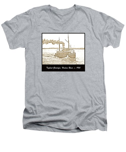 Men's V-Neck T-Shirt featuring the photograph Tugboat Gladisfen Hudson River C 1900 Vintage Photograph by A Gurmankin