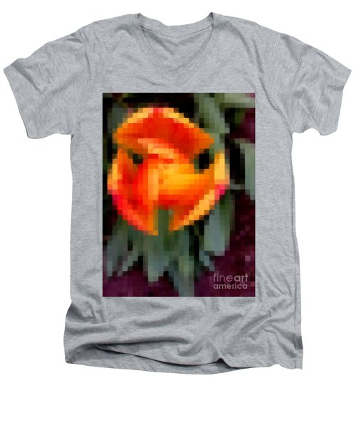 Men's V-Neck T-Shirt featuring the photograph Tulip 1 Honoring Princess Diana by Richard W Linford
