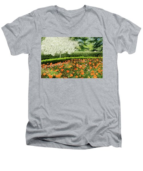 Men's V-Neck T-Shirt featuring the photograph Tulip Cafe by Diana Angstadt