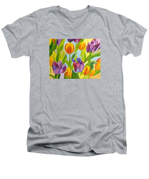 Tulip Fest Men's V-Neck T-Shirt by Meryl Goudey