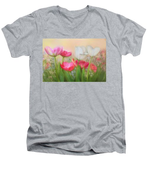 Men's V-Neck T-Shirt featuring the painting Tulip Garden by Bonnie Willis
