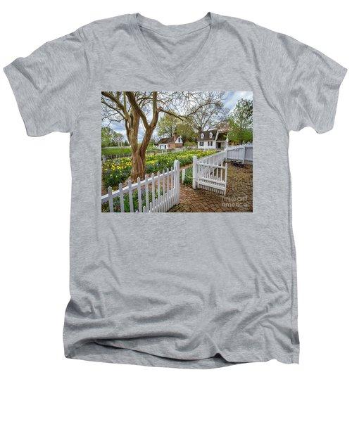 Tulip Garden Colonial Williamsburg  Men's V-Neck T-Shirt