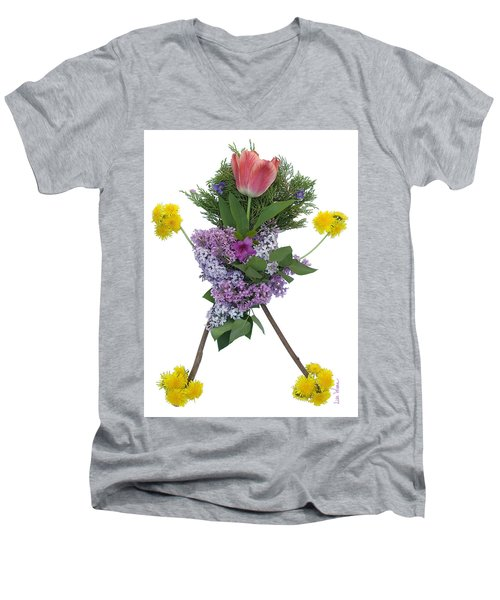 Tulip Head Men's V-Neck T-Shirt by Lise Winne