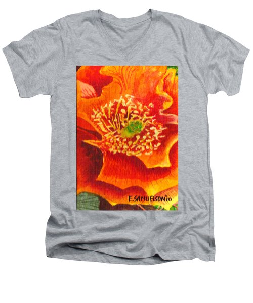 Tulip Prickly Pear Men's V-Neck T-Shirt by Eric Samuelson