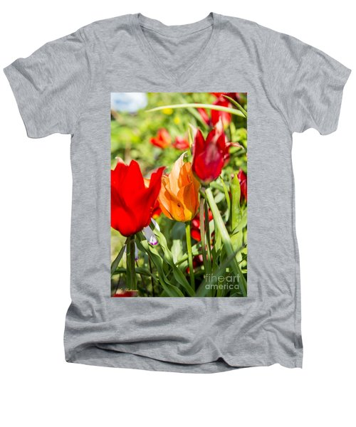 Men's V-Neck T-Shirt featuring the photograph Tulip - The Orange One 02 by Arik Baltinester