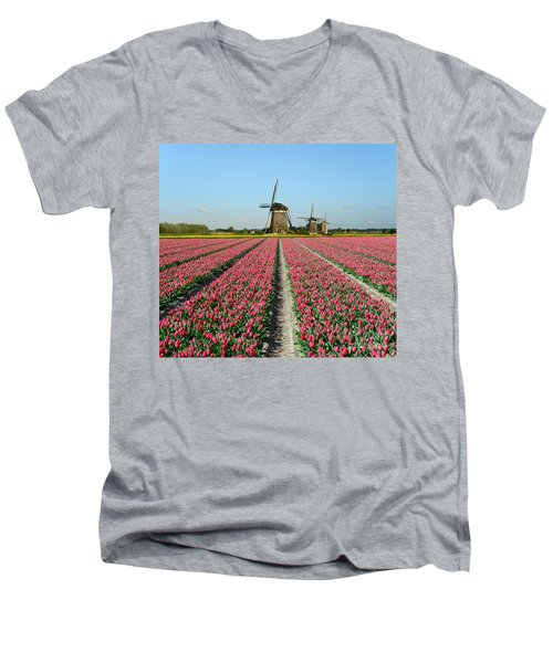 Tulips And Windmills In Holland Men's V-Neck T-Shirt by IPics Photography