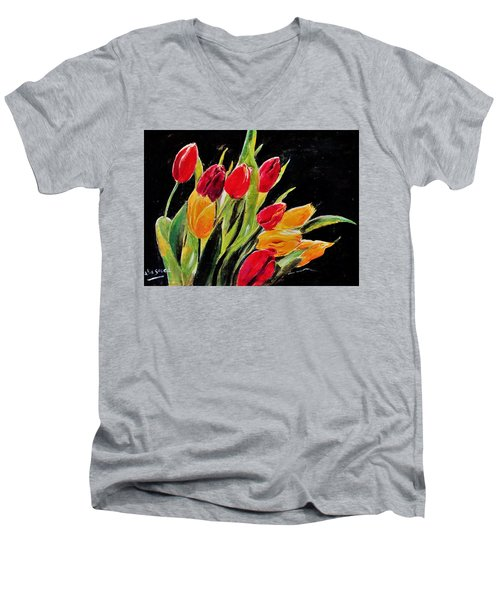 Tulips Colors Men's V-Neck T-Shirt