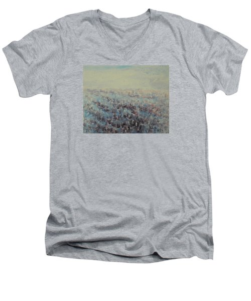 Men's V-Neck T-Shirt featuring the painting Tulips Dance Abstract 3 by Jane See