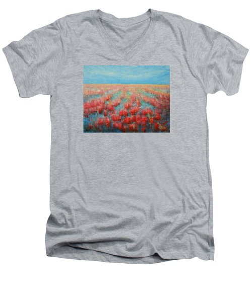 Men's V-Neck T-Shirt featuring the painting Tulips Dance Abstract 4 by Jane See
