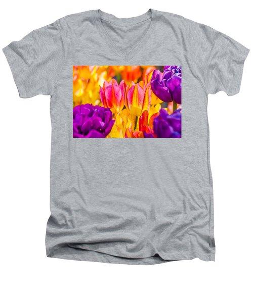 Men's V-Neck T-Shirt featuring the photograph Tulips Enchanting 45 by Alexander Senin
