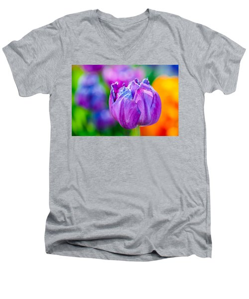 Men's V-Neck T-Shirt featuring the photograph Tulips Enchanting 47 by Alexander Senin