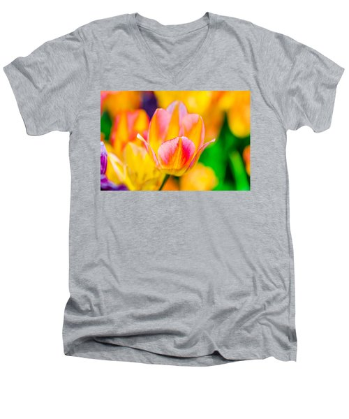 Men's V-Neck T-Shirt featuring the photograph Tulips Enchanting 48 by Alexander Senin
