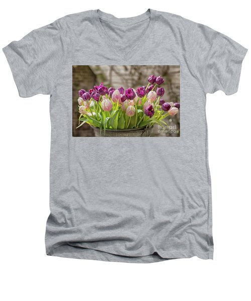 Men's V-Neck T-Shirt featuring the photograph Tulips In A Bucket by Patricia Hofmeester