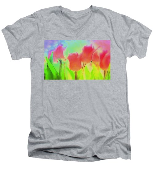 Tulips In Abstract 2 Men's V-Neck T-Shirt
