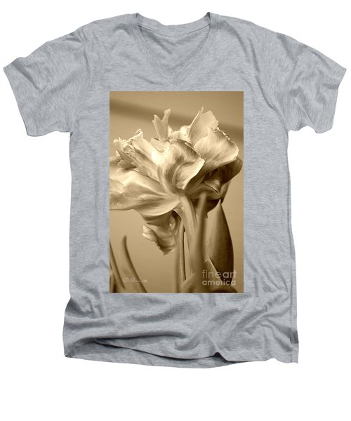 Tulips In Sepia Men's V-Neck T-Shirt