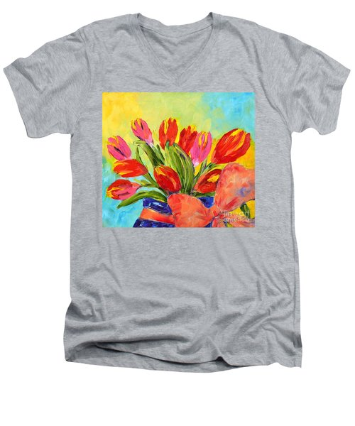 Tulips Tied Up Men's V-Neck T-Shirt by Lynda Cookson