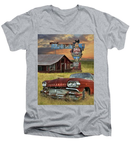 Men's V-Neck T-Shirt featuring the photograph Tumble Inn by Lori Deiter