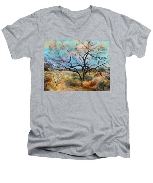 Tumbleweeds Men's V-Neck T-Shirt by M Diane Bonaparte