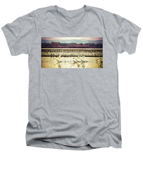 Tundra Swans Lift Off Men's V-Neck T-Shirt