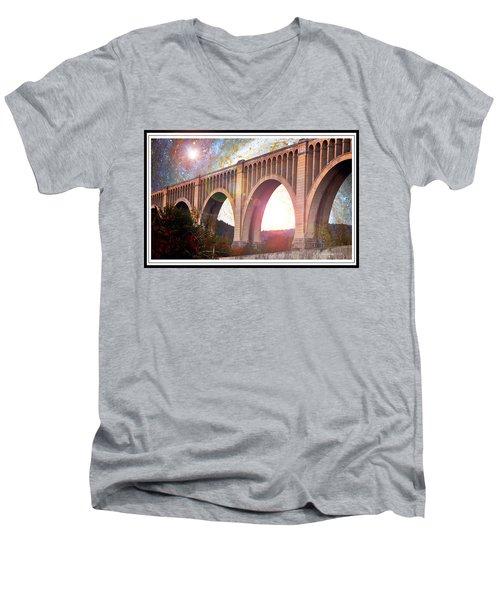 Tunkhannock Viaduct, Nicholson Bridge, Starry Night Fantasy Men's V-Neck T-Shirt