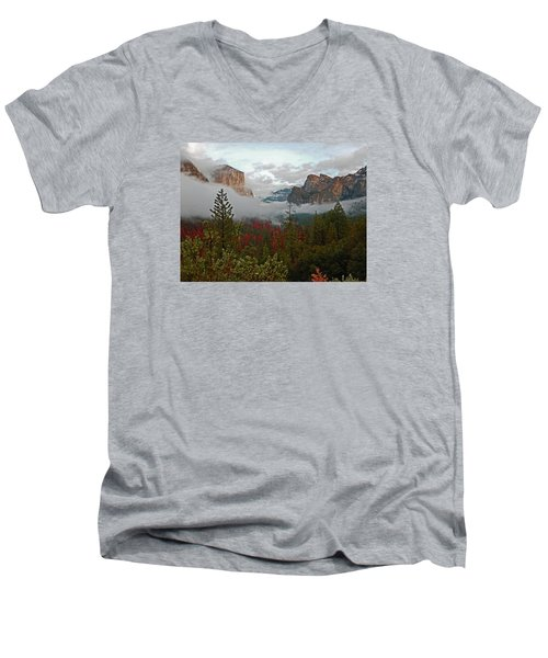 Men's V-Neck T-Shirt featuring the photograph Tunnel View 12 2016 by Walter Fahmy