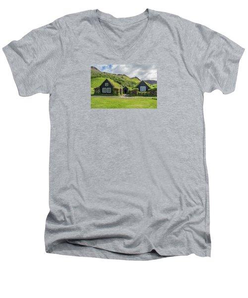 Turf Roof Houses And Shed, Skogar, Iceland Men's V-Neck T-Shirt