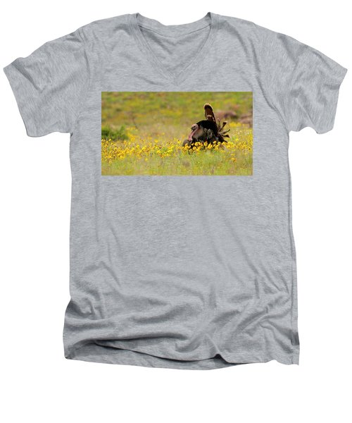 Turkey In Wildflowers Men's V-Neck T-Shirt