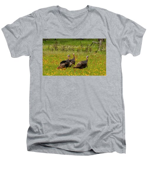 Turkeys In Wildflowers Men's V-Neck T-Shirt